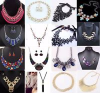 Fashion Jewelry Crystal Women Bib Choker Chunky Chain Pendant Statement Necklace