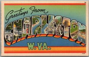 1940s CHARLESTON West Virginia Large Letter Postcard Tichnor Linen Unused