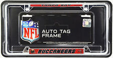 Tampa Bay Buccaneers EZ View Thin Profile Chrome Metal License Plate Frame NFL