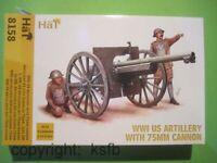 1:72 HäT 8158 WKI US Artillerie Kanone 75mm Geschütz + Munitions Anhänger