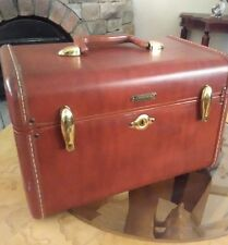 Vintage Leather Samsonite Luggage Shwayder  Train Makeup Case Cognac Brown 4612