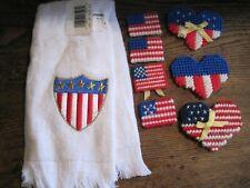 Patriotic FLAG Fingertip Towel W/7 PLASTIC CANVAS FLAGS