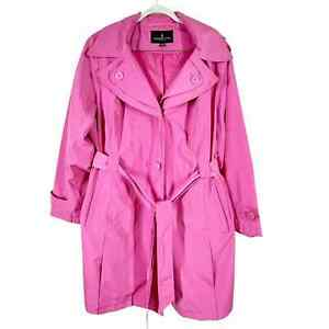 London Fog Women's Trench Coat in Pink Sz 2X Removeable Hood