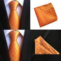 Men Orange Purple Polka Dots Necktie Pocket Square Handkerchief Set Lot HZBWT072