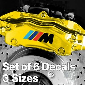 x6 BMW M Sport Badge Quality Brake Caliper Decals Stickers - Black & Colours
