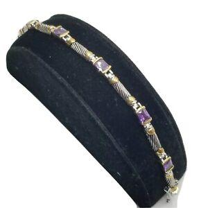 """Tennis Bracelet Rectangle PURPLE Cubic Zirconia Jewelry 7"""" Renaissance Revival"""