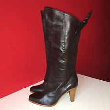 FRENCH CONNECTION Brown Leather Retro Pull On Knee High Boots Size 5 EUR38