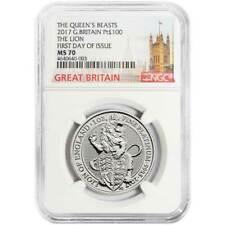 2017 U.K. 100 Pound Platinum Queen's Beast The Lion NGC MS70 FDI London Label