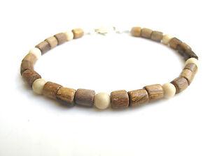 Wood beads sterling silver natural coral gemstone bracelet men women bangle 925
