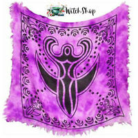 "GODDESS ALTAR CLOTH 18x18"" Wicca Pagan Witchcraft Black & Purple"