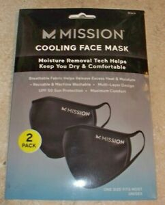 Mission Traditional Cooling Face Mask Black (2-Pack)