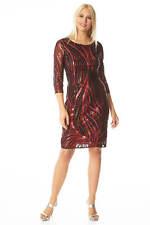 Roman Originals Women Sequin 3/4 Sleeve Mesh Dress
