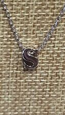 PETITE RHODIUM PLATED LOWER CASE s INITIAL LETTER PENDANT NECKLACE