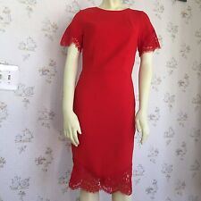 H&M Red Sheath Dress Size 6 Lace Trim Bodycon Short Sleeve Knee Length
