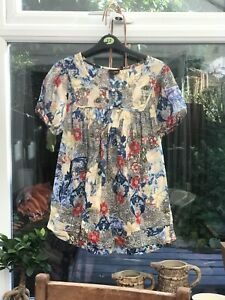 Next floral cotton Maternity Top / Blouse / Smock / Tunic, 70s Size UK-12, VGC