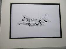 Grumman F7F Tigercat  Fighter artist pen ink 1964 New York Worlds Fair