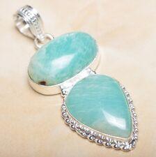 "Handmade Aquamarine Amazonite Jasper 925 Sterling Silver Pendant 2.25"" #P09951"