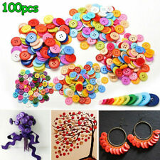 100Pcs Resin Mix Round Buttons Sewing DIY Scrapbooking Decals for Kids Crafts AU