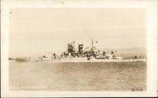 Naval Battleship USS Mississippi Real Photo Postcard WWII ERA