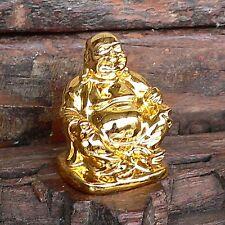 kleiner Buddha gold mit Tüte lachender Budai Glücksbringer Geschenk Mitbringsel