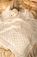 "Baby Shawl / Blanket 42"" Square ~ Pretty Border ~ 4 Ply Knitting Pattern"