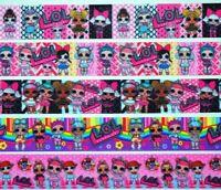 "Grosgrain Ribbon 7/8"" Mixed Lot 5 yds Dolls Cartoon Girls Pink Doll Printed."