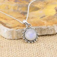 Moonstone Round 925 Sterling Silver Pendant Necklace Gemstone Jewellery