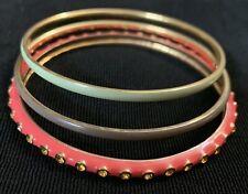 Bangle Bracelets Green Gray Pink Gold Tone J Crew Enamel & Rhinestone Lot Of 3