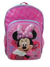 """Disney Minnie Mouse Pink Bow  School 16"""" 3D Molded Face Backpack Kids/Child"""