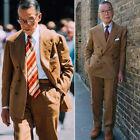 Men Double-breasted Peak Lapel Linen Suits Two Pieces Wide Lapel Formal Tuxedos