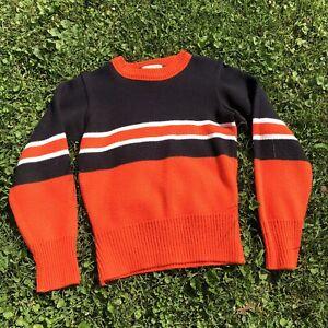 Vintage Debbie Lynn Designs 1960's Cheerleader Halloween Orange & Black Sweater