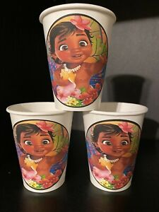 12 BABY MOANA Birthday Party Paper Cups 9OZ