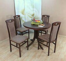 Essgruppe 5-tlg. Auszugtisch rund Stühle Esstisch Farbe: Nuss-Dunkel/Cappuccino
