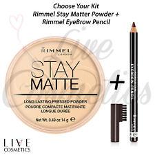 RIMMEL STAY MATTE PRESSED FACE POWDER + RIMMEL EYEBROW PENCIL KIT *Choose Yours*