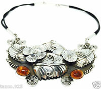 TAXCO MEXICAN 950 STERLING SILVER AMBER FLORAL FLOWER LEAF NECKLACE MEXICO