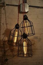 Red Metal Bulb Guard Chandelier Light Cage Pendant Hanging Industrial Retro