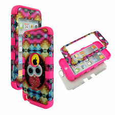 New Colorfull Star Owl Pnk Strp Apple iPod Touch 6 6th G Hybrid 3 in1 Case Cover