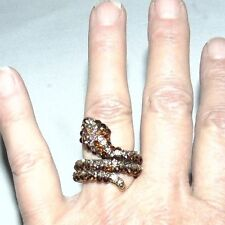 Vintage Cobra Snake Ring Copper Color and Clear Rhinestones