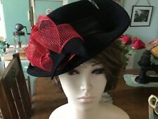 Original remodelled black felt hat 1940 style,satin band ,ribbon and cherry trim