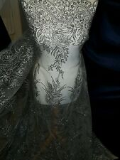 1.5 Nero 1 mgrey 1 mgold BRIDAL smerlato in pizzo embriouded tessuto con paillettes e larga 58""