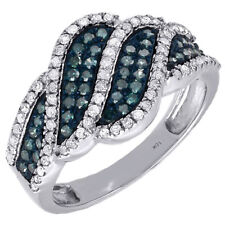 Blue Diamond Right Hand Fashion Band 10k White Gold Round Cocktail Ring 3/4 Ct.