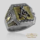 Masonic Bible Ring .925 Sterling Silver 18K Gold Plated Mason Freemason UNIQABLE