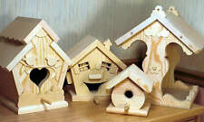Woodworking plans for making three bird houses and a bird feeder