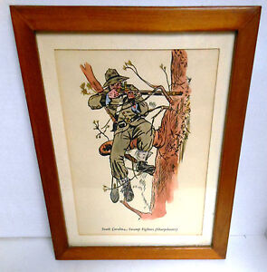 MILITARY PRINT American Civil War CSA Sniper Framed Hand Colored Print W. Homer