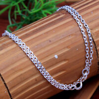 Solid 925 Sterling Silver jewelry Unisex Link necklace silver chain 18, 20,22""