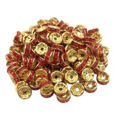 20 Perles Rondelle strass Doré 8mm Couleur Rouge Creation Bijoux Collier