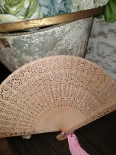 """Vintage Woman's Bamboo Hand Fan Carved Cut Out Sandalwood Tan 13""""x 8"""""""