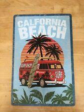 Calfornia Beach Camper retro workshop man cave vintage metal sign garage plaque