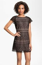 FELICITY & COCO BLACK/NUDE LACESHIFT DRESS  sz XS