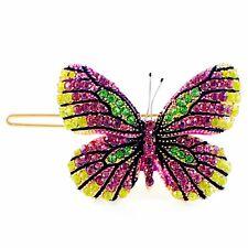 USA BUTTERFLY Hair Clip Hairpin use Swarovski Crystal Elegant Multi Color B-10
